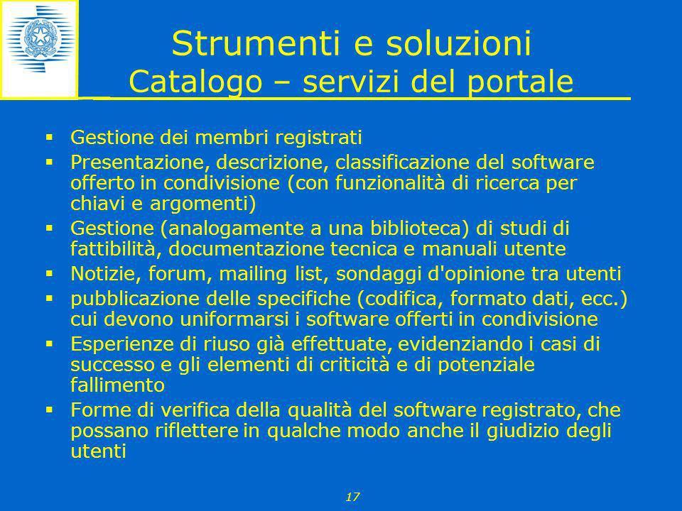 Strumenti e soluzioni Catalogo – servizi del portale