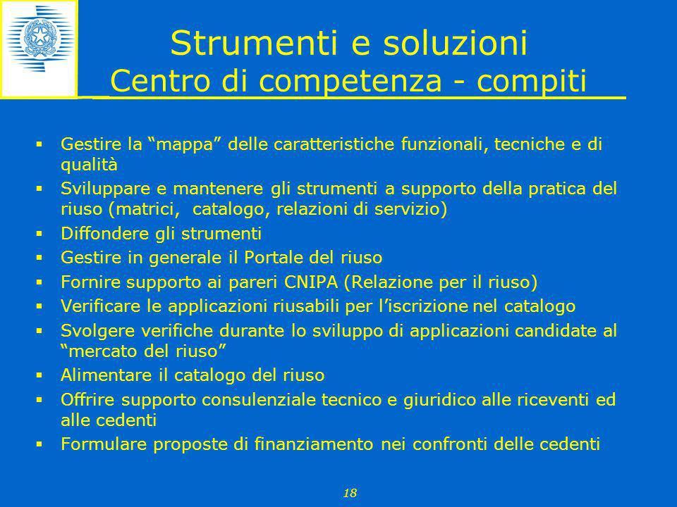Strumenti e soluzioni Centro di competenza - compiti