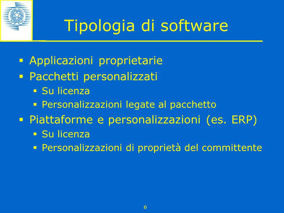 Tipologia di software Applicazioni proprietarie