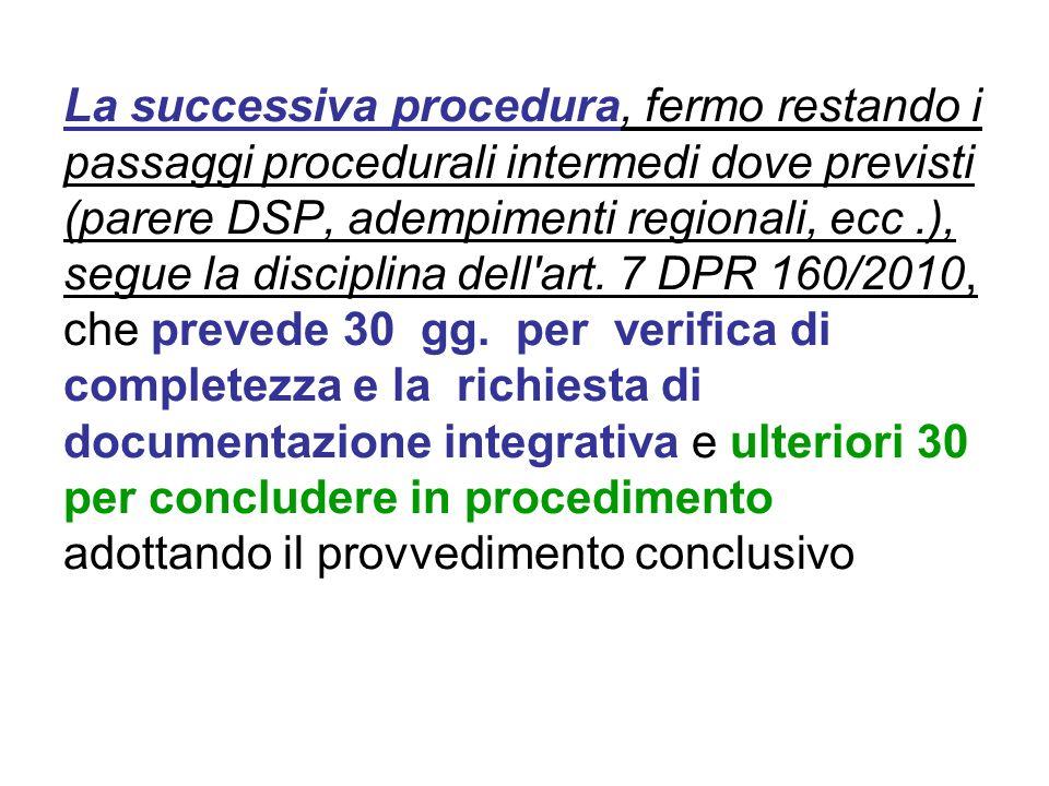 La successiva procedura, fermo restando i passaggi procedurali intermedi dove previsti (parere DSP, adempimenti regionali, ecc .), segue la disciplina dell art.