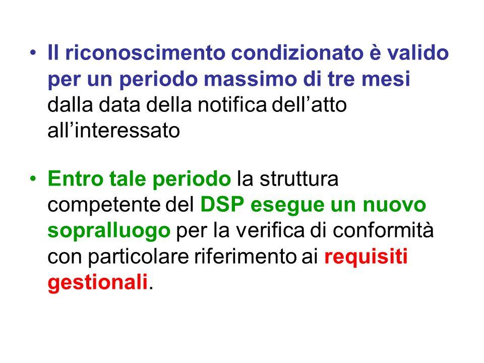Il riconoscimento condizionato è valido per un periodo massimo di tre mesi dalla data della notifica dell'atto all'interessato