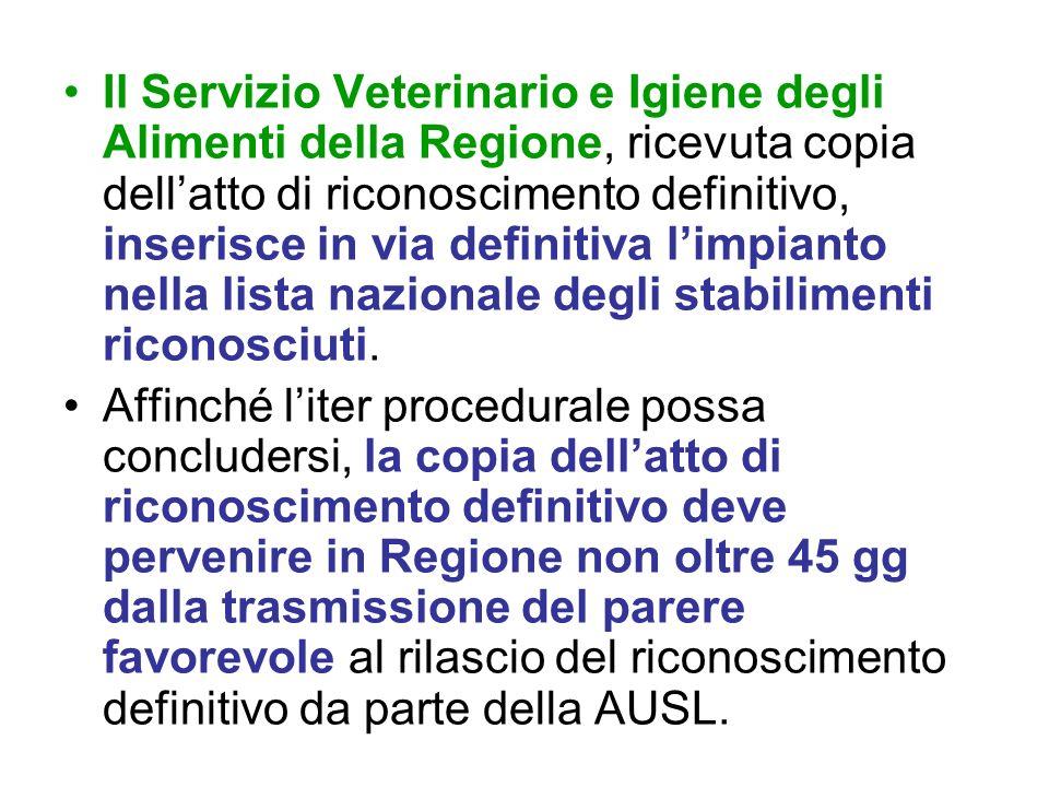 Il Servizio Veterinario e Igiene degli Alimenti della Regione, ricevuta copia dell'atto di riconoscimento definitivo, inserisce in via definitiva l'impianto nella lista nazionale degli stabilimenti riconosciuti.