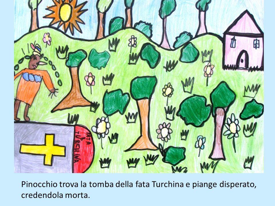 Pinocchio trova la tomba della fata Turchina e piange disperato, credendola morta.