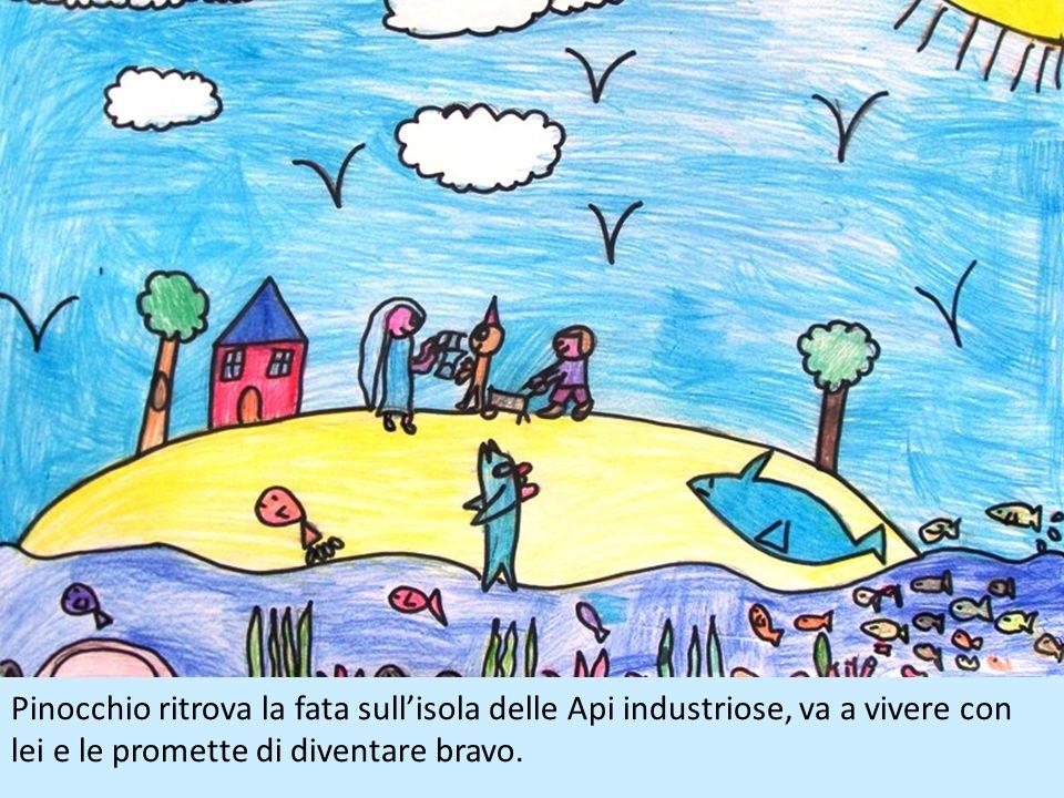 Pinocchio ritrova la fata sull'isola delle Api industriose, va a vivere con lei e le promette di diventare bravo.