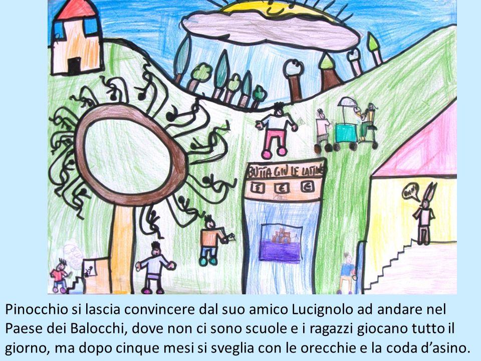 Pinocchio si lascia convincere dal suo amico Lucignolo ad andare nel Paese dei Balocchi, dove non ci sono scuole e i ragazzi giocano tutto il giorno, ma dopo cinque mesi si sveglia con le orecchie e la coda d'asino.