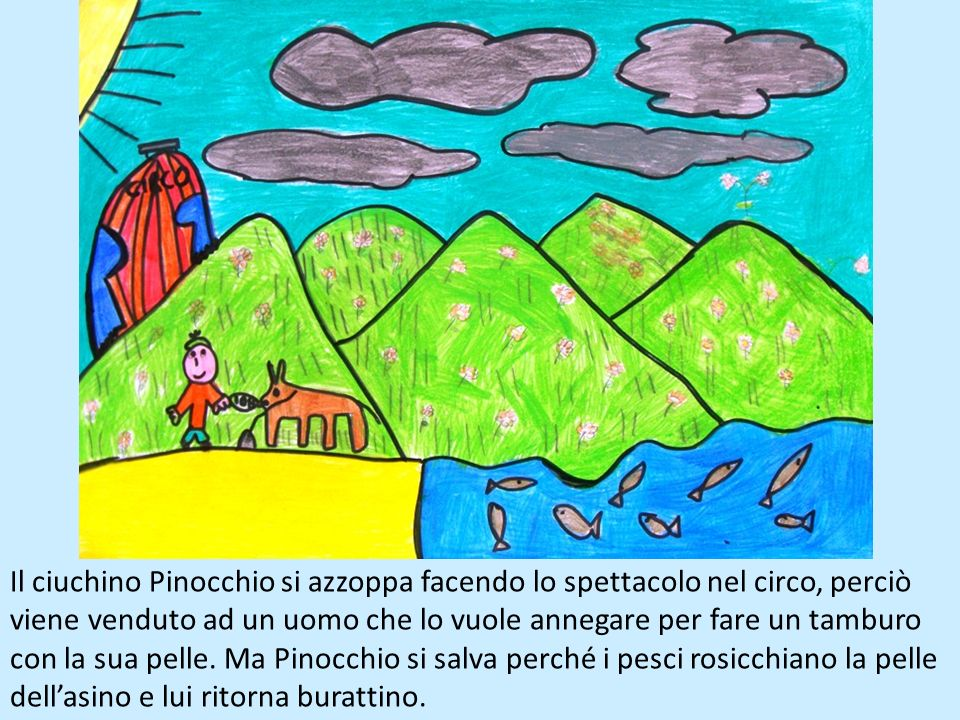 Il ciuchino Pinocchio si azzoppa facendo lo spettacolo nel circo, perciò viene venduto ad un uomo che lo vuole annegare per fare un tamburo con la sua pelle.