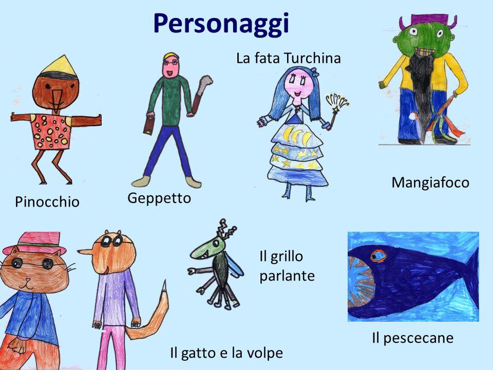 Personaggi La fata Turchina Mangiafoco Geppetto Pinocchio