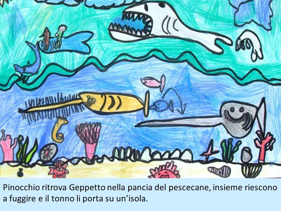 Pinocchio ritrova Geppetto nella pancia del pescecane, insieme riescono a fuggire e il tonno li porta su un'isola.