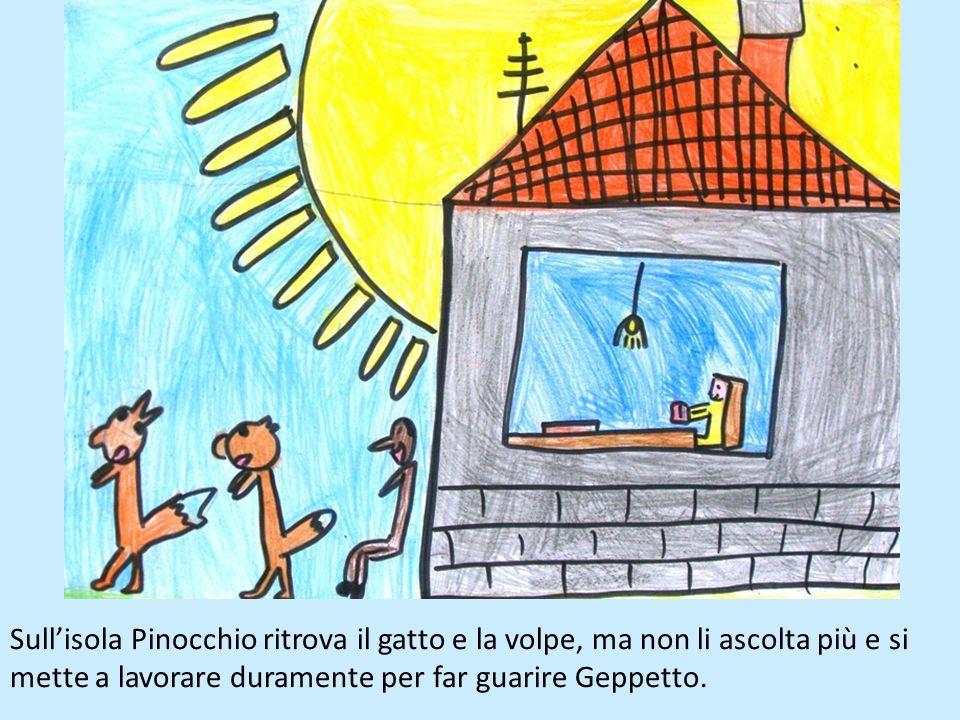 Sull'isola Pinocchio ritrova il gatto e la volpe, ma non li ascolta più e si mette a lavorare duramente per far guarire Geppetto.