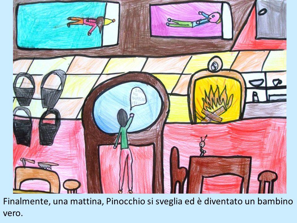 Finalmente, una mattina, Pinocchio si sveglia ed è diventato un bambino vero.