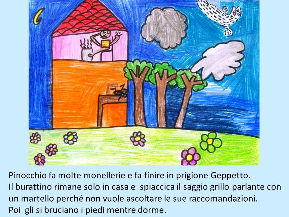 Pinocchio fa molte monellerie e fa finire in prigione Geppetto