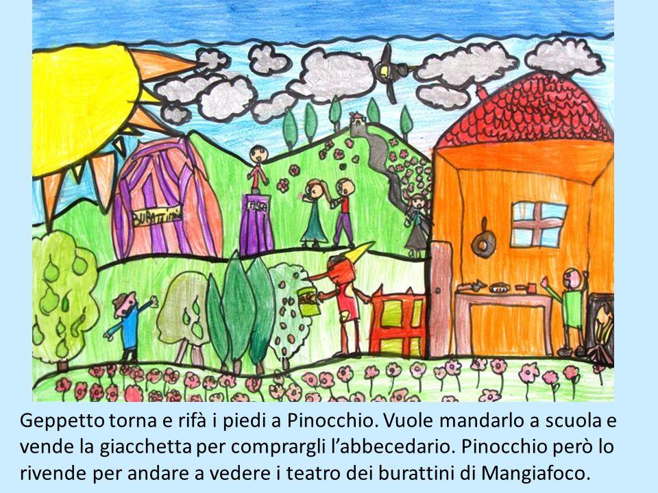 Geppetto torna e rifà i piedi a Pinocchio