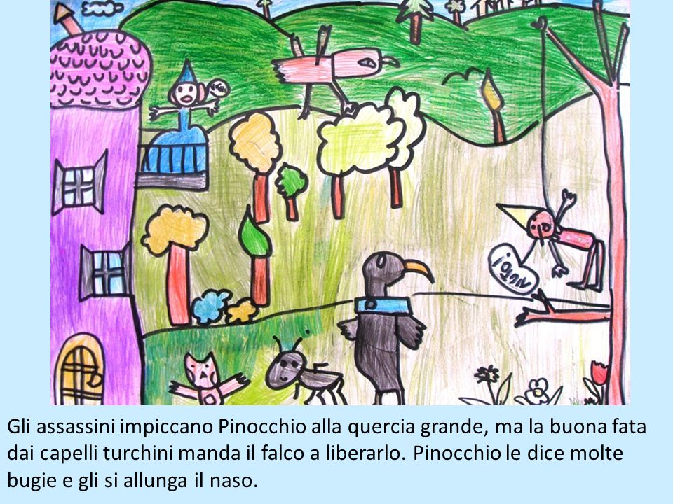 Gli assassini impiccano Pinocchio alla quercia grande, ma la buona fata dai capelli turchini manda il falco a liberarlo.