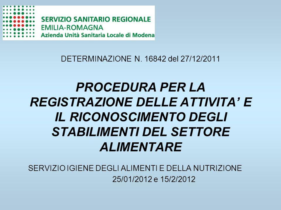 DETERMINAZIONE N. 16842 del 27/12/2011 PROCEDURA PER LA REGISTRAZIONE DELLE ATTIVITA' E IL RICONOSCIMENTO DEGLI STABILIMENTI DEL SETTORE ALIMENTARE
