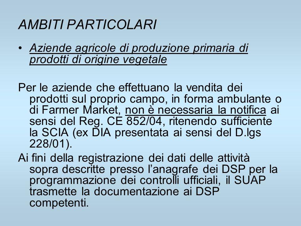 AMBITI PARTICOLARI Aziende agricole di produzione primaria di prodotti di origine vegetale.