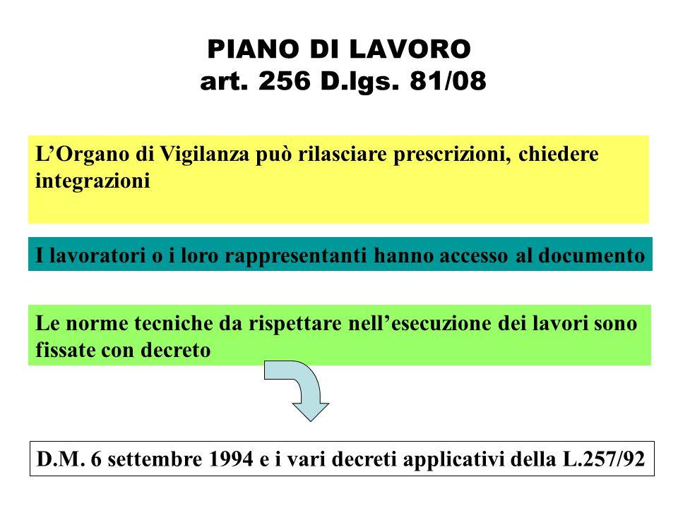 PIANO DI LAVORO art. 256 D.lgs. 81/08