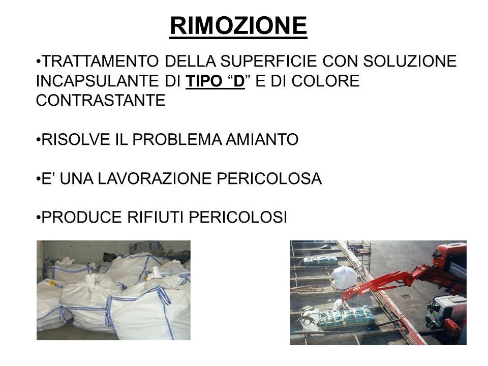 RIMOZIONE TRATTAMENTO DELLA SUPERFICIE CON SOLUZIONE INCAPSULANTE DI TIPO D E DI COLORE CONTRASTANTE.