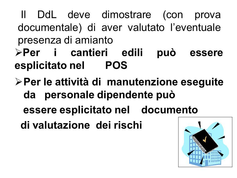 Il DdL deve dimostrare (con prova documentale) di aver valutato l'eventuale presenza di amianto