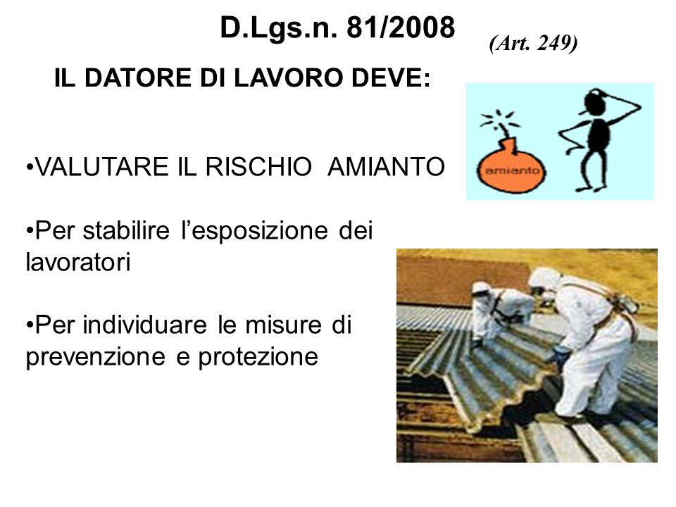 D.Lgs.n. 81/2008 IL DATORE DI LAVORO DEVE: VALUTARE IL RISCHIO AMIANTO