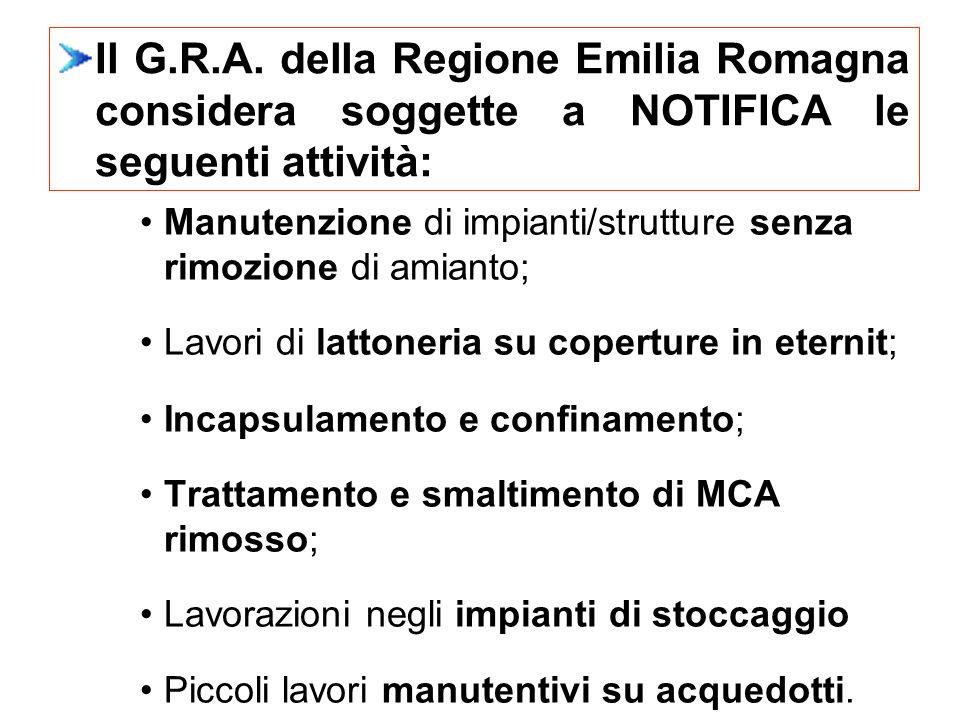 Il G.R.A. della Regione Emilia Romagna considera soggette a NOTIFICA le seguenti attività: