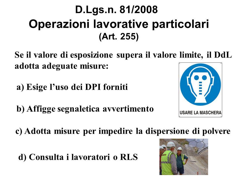 Operazioni lavorative particolari (Art. 255)
