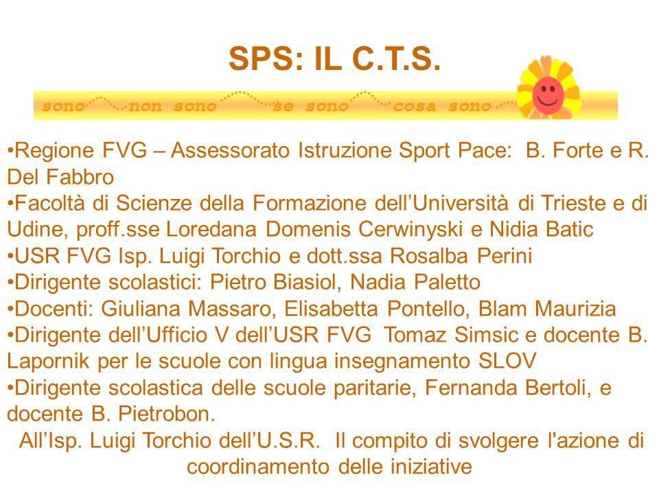 SPS: IL C.T.S.sono non sono se sono cosa sono. Regione FVG – Assessorato Istruzione Sport Pace: B. Forte e R. Del Fabbro.