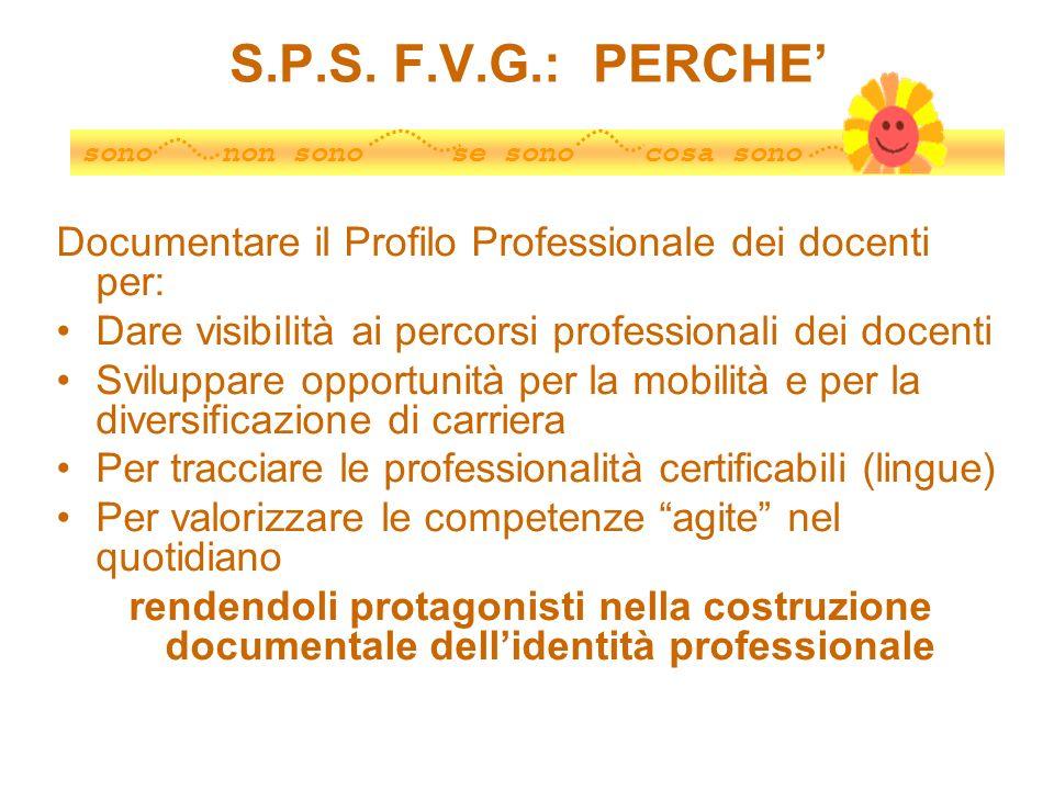 S.P.S. F.V.G.: PERCHE'sono non sono se sono cosa sono. Documentare il Profilo Professionale dei docenti per: