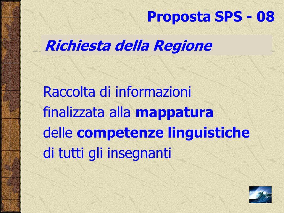 Proposta SPS - 08 Richiesta della Regione. Raccolta di informazioni. finalizzata alla mappatura. delle competenze linguistiche.