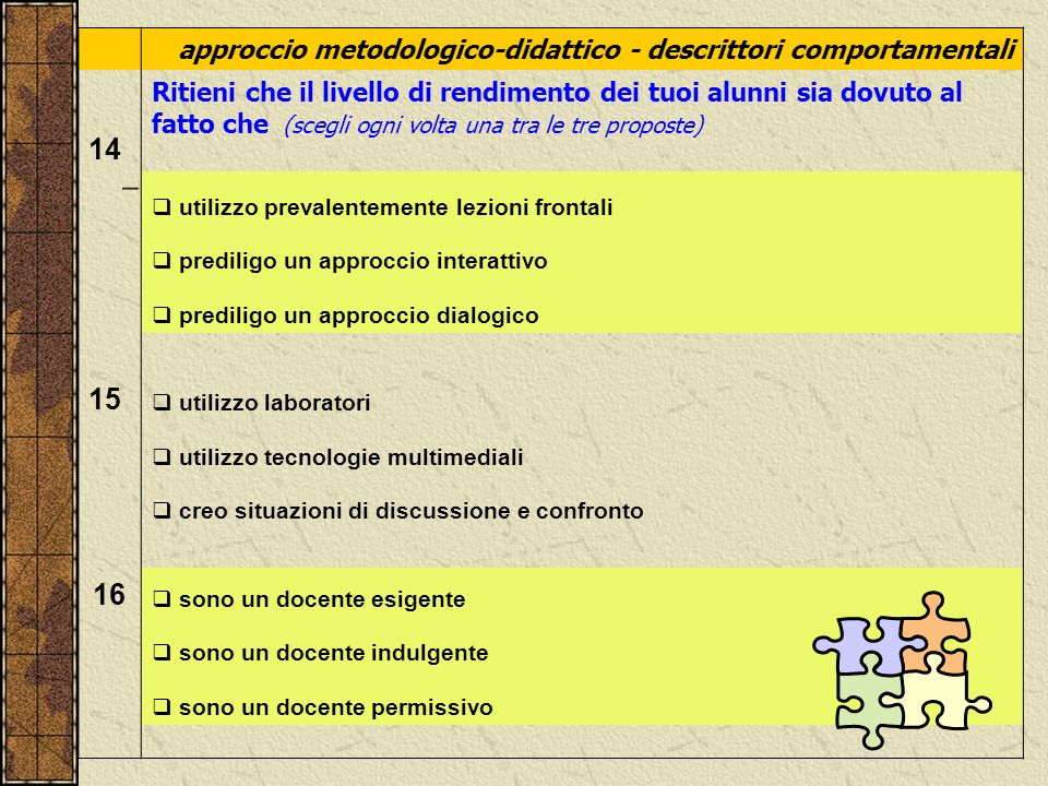 approccio metodologico-didattico - descrittori comportamentali. 14.