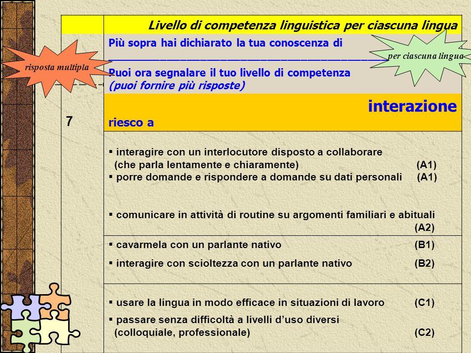 interazione 7 Livello di competenza linguistica per ciascuna lingua