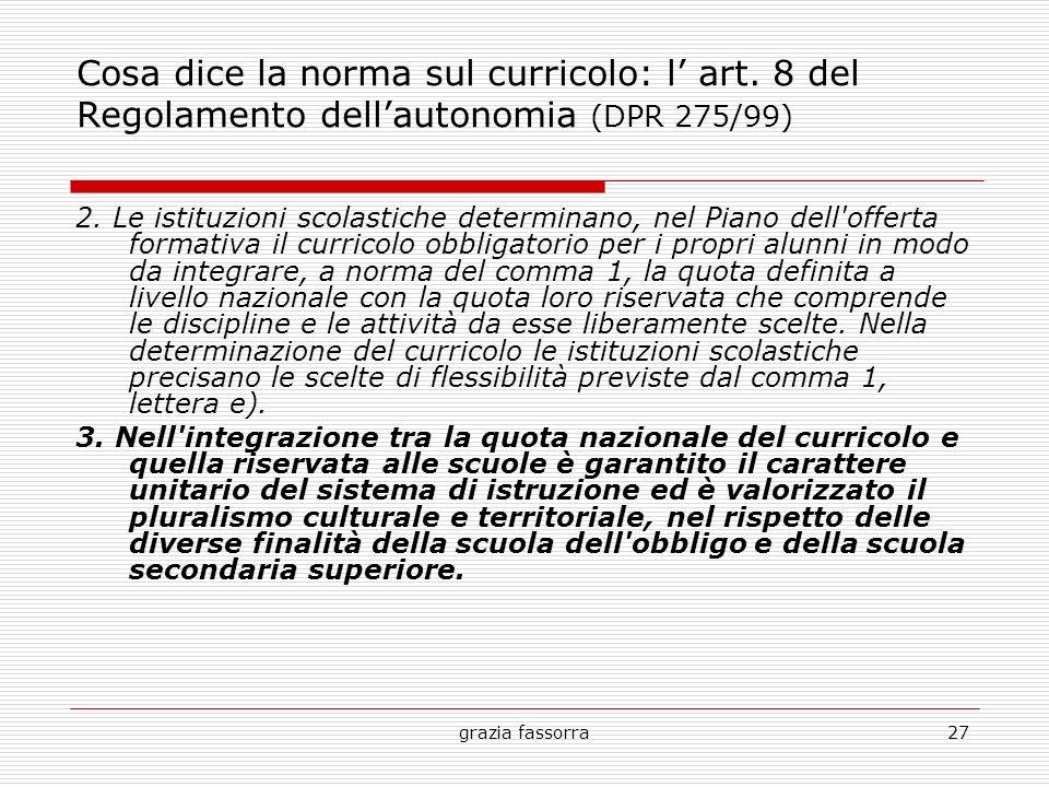 Cosa dice la norma sul curricolo: l' art