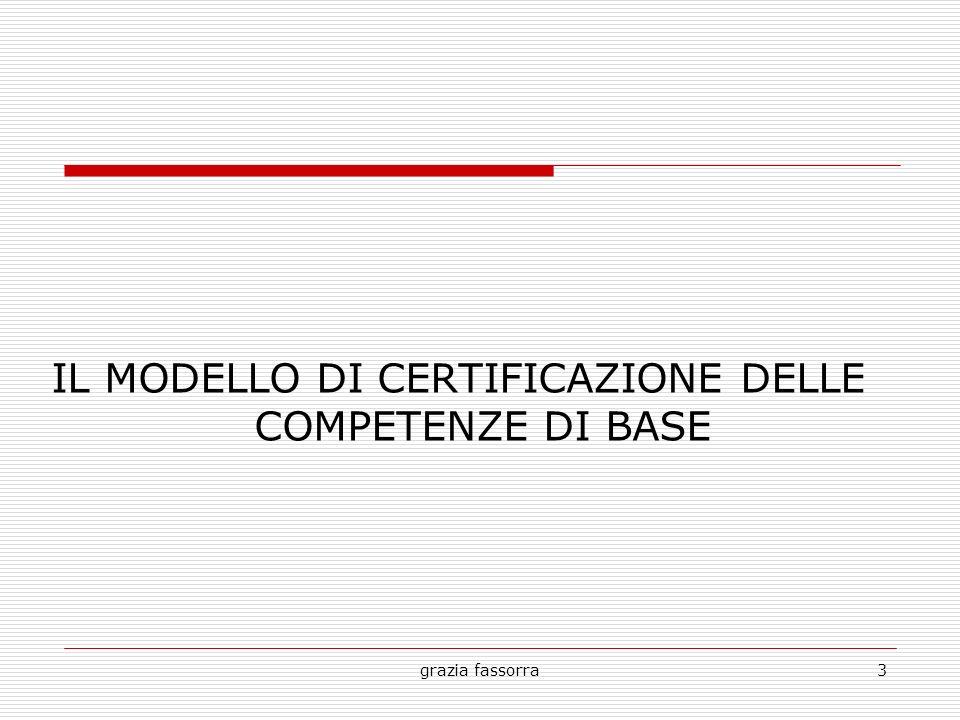 IL MODELLO DI CERTIFICAZIONE DELLE COMPETENZE DI BASE