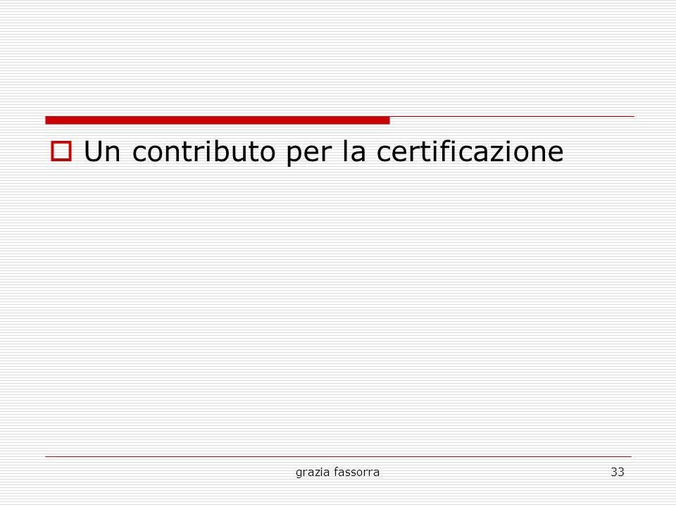 Un contributo per la certificazione