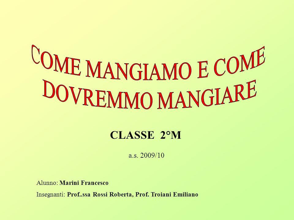 COME MANGIAMO E COME DOVREMMO MANGIARE CLASSE 2°M a.s. 2009/10