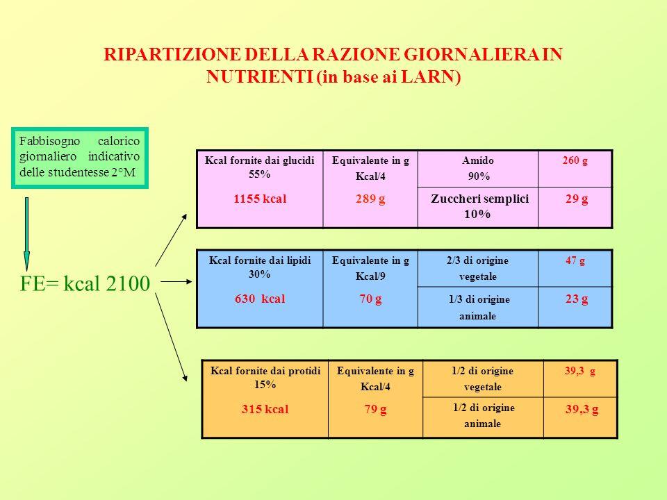 RIPARTIZIONE DELLA RAZIONE GIORNALIERA IN NUTRIENTI (in base ai LARN)