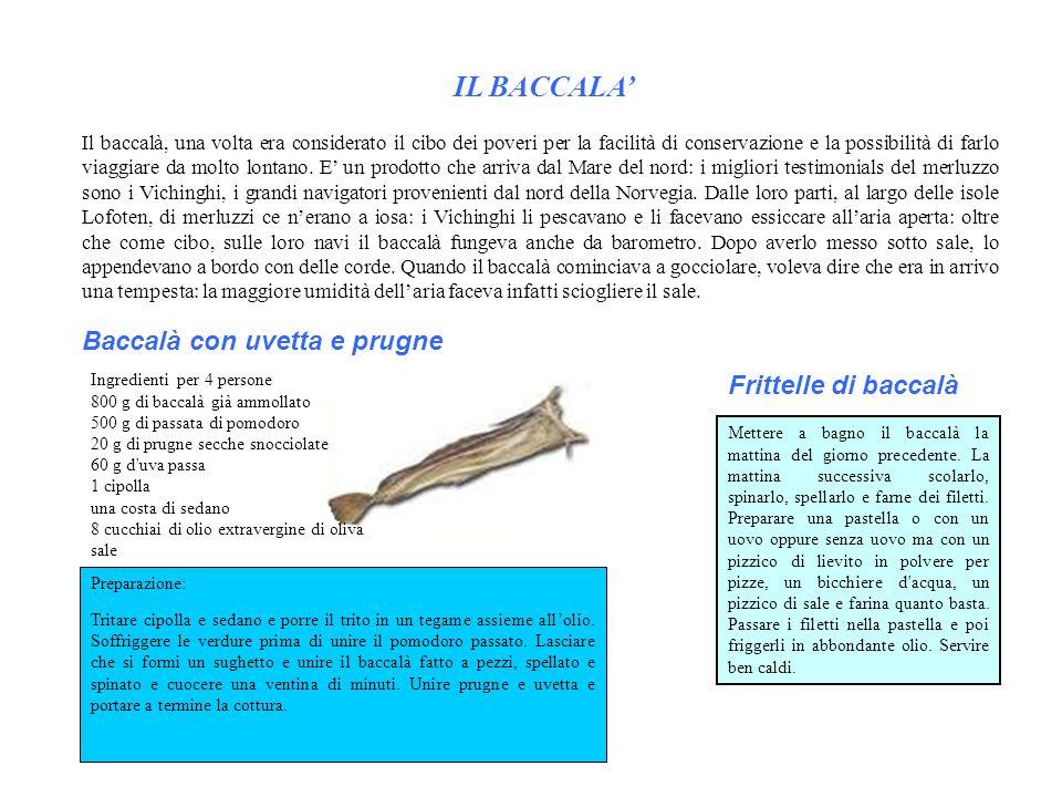 IL BACCALA' Baccalà con uvetta e prugne Frittelle di baccalà