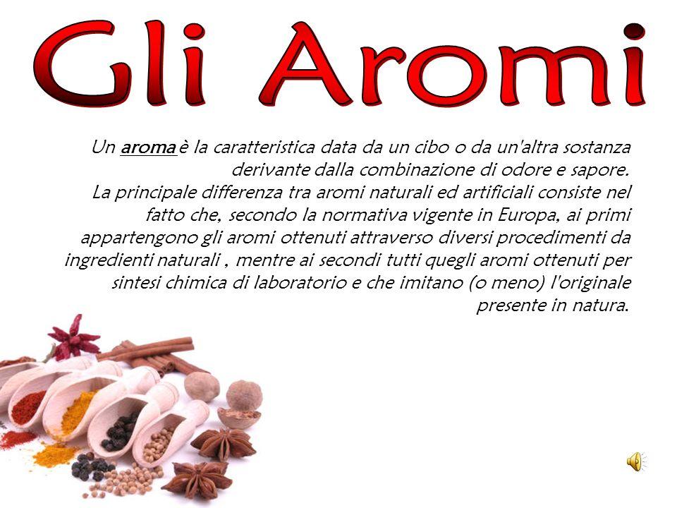 Gli Aromi Un aroma è la caratteristica data da un cibo o da un altra sostanza derivante dalla combinazione di odore e sapore.