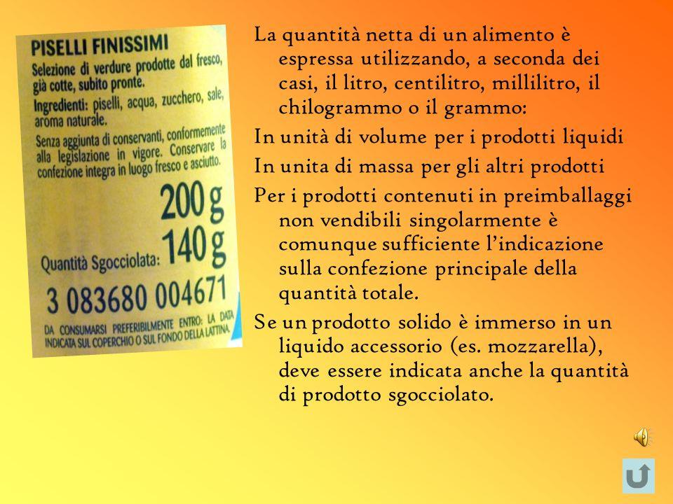 La quantità netta di un alimento è espressa utilizzando, a seconda dei casi, il litro, centilitro, millilitro, il chilogrammo o il grammo: