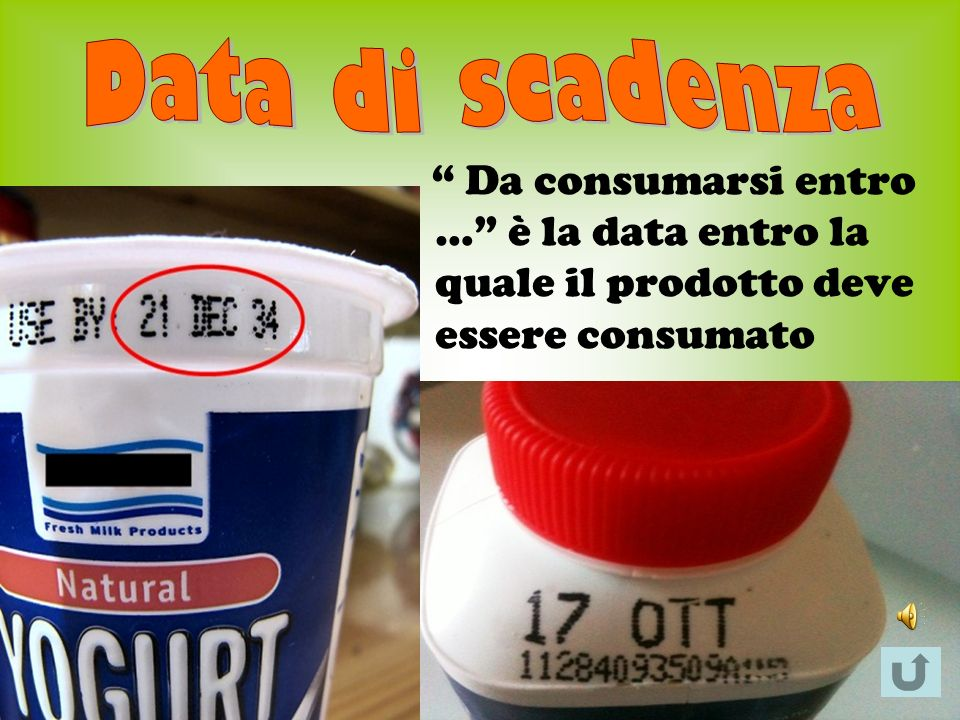 Data di scadenza Da consumarsi entro … è la data entro la quale il prodotto deve essere consumato.