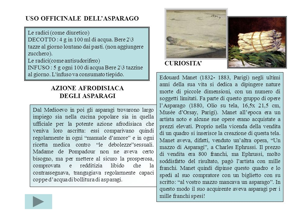 USO OFFICINALE DELL'ASPARAGO