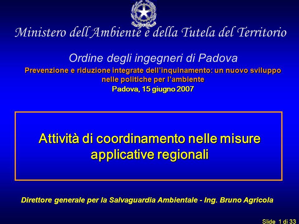 Attività di coordinamento nelle misure applicative regionali