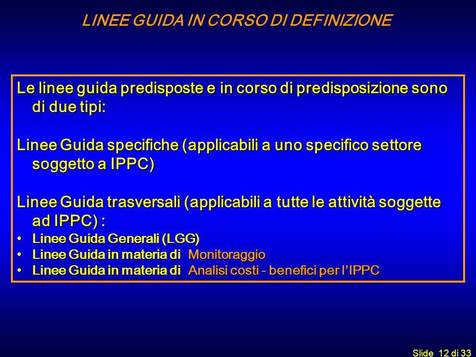LINEE GUIDA IN CORSO DI DEFINIZIONE