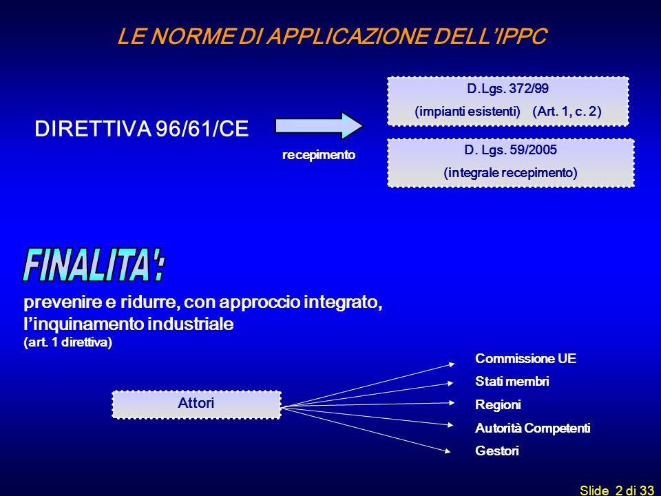 LE NORME DI APPLICAZIONE DELL'IPPC