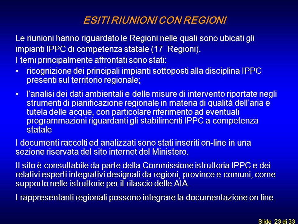 ESITI RIUNIONI CON REGIONI