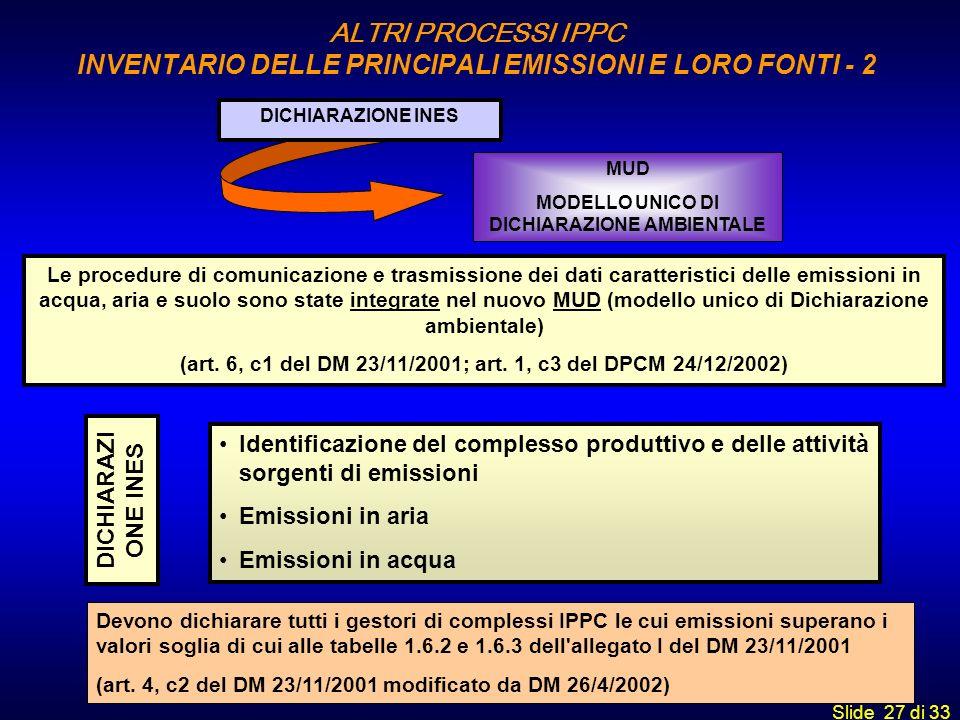 ALTRI PROCESSI IPPC INVENTARIO DELLE PRINCIPALI EMISSIONI E LORO FONTI - 2