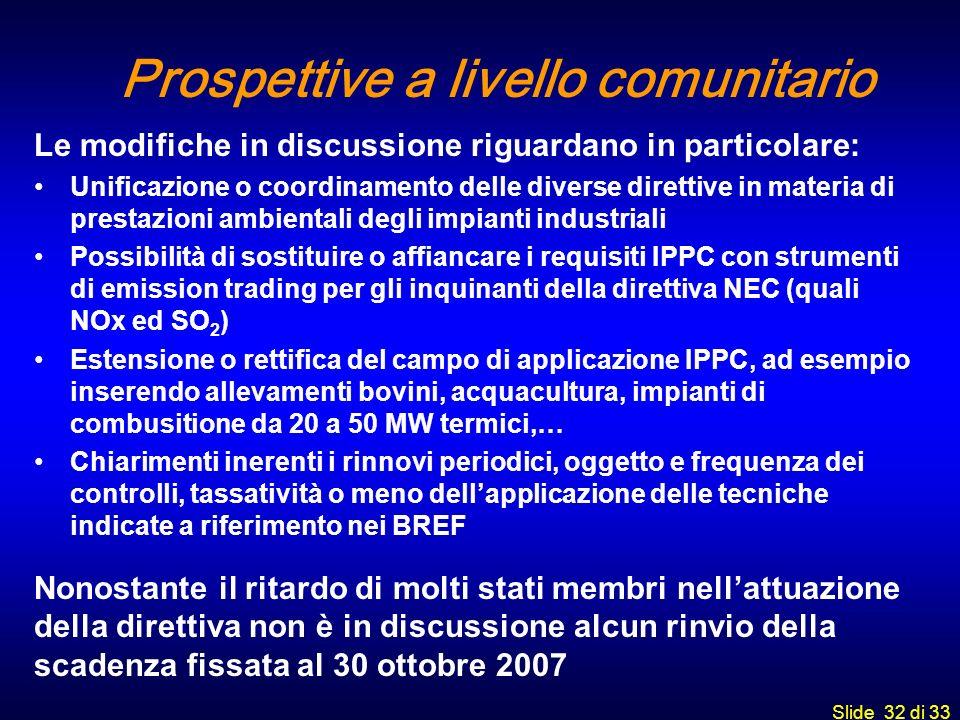 Prospettive a livello comunitario