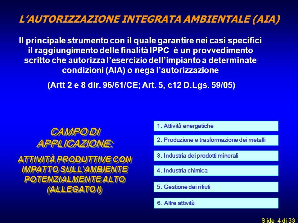 L'AUTORIZZAZIONE INTEGRATA AMBIENTALE (AIA)