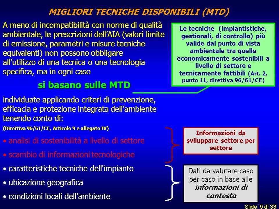 MIGLIORI TECNICHE DISPONIBILI (MTD)