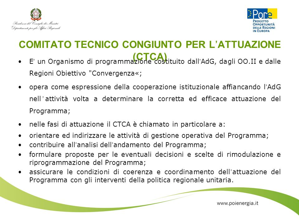 COMITATO TECNICO CONGIUNTO PER L'ATTUAZIONE (CTCA)