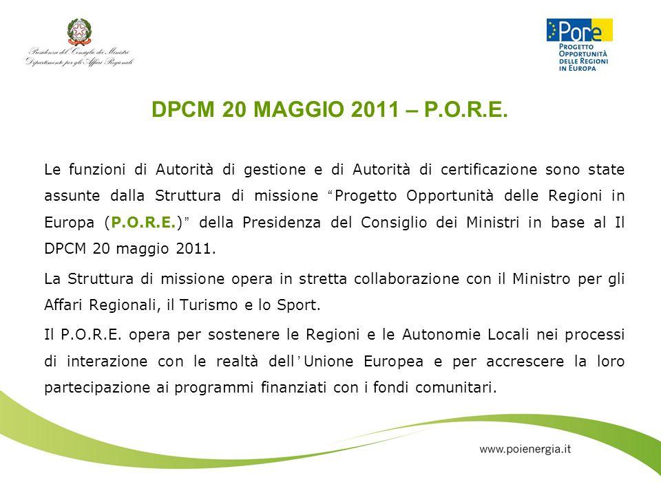 DPCM 20 MAGGIO 2011 – P.O.R.E.